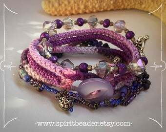 Triple Berry Tropical Orchid Bliss Stackable Bracelet Set of Three