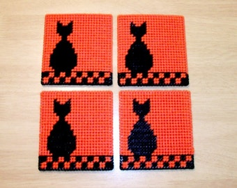 Black Cat Coasters - Orange Drink Coasters with Cat Design - Black Cat on Fence Beverage Coasters - Black Cat Mug Rugs - Ready-to-Ship