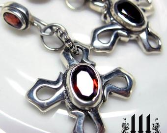 Celtic Cross Flower Earrings Gothic Red Garnet