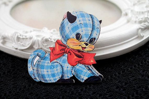 Kitten toy wooden brooch cute woodland cat dog red blue plaid bow