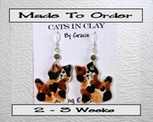 Tortie Cat Shaped French Wire Earrings Handmade To Order In Kiln Fired Clay by Gracie