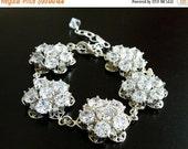 27% Off Sale Bridal Bracelet Cubic Zirconia Silver Flower Bracelet AB3