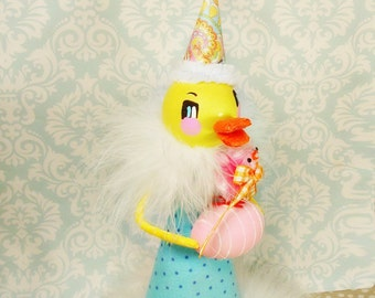 Easter duck tree topper yellow easter duck centerpiece spring decor ooak art doll vintage retro inspired toni Kelly original easter decor