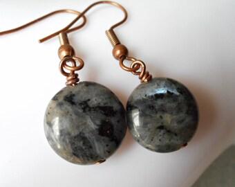 Larvikite earrings black labradorite earrings simple earrings copper and stones gemstone jewelry handmade natural minimal rustic grey gem