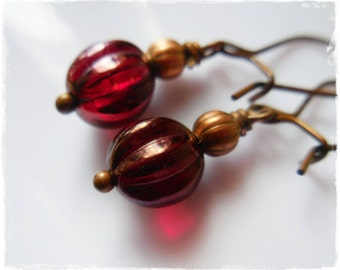 Dainty Red Earrings, pomegranate red glass bead, antiqued copper, small earrings, pomegranate wine red copper dangle drop earrings for women