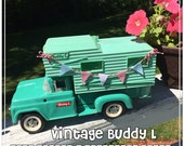 Calling all GLAMPERS! Vintage Buddy L Turquoise Truck with AQUA Camper - Decked Out with A Pennant Garland on Bakers Twine - Too Cute!