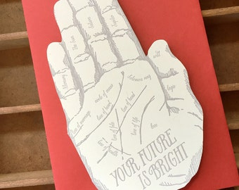 letterpress your future is bright- hand shaped card