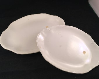 Pair of Vintage White USA Ironstone Style Platters