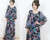 Boho maxi dress, floral maxi dress, 70s dress, floral chiffon dress, boho floral dress, 70s maxi dress, floaty summer dress