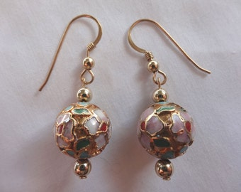 One Pair Hand Crafted Earrings Gold Filled French Ear Wires 12mm Round Cloisonne E9