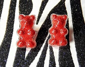 Red Glitter Bear Earrings, Gummy Bear Earrings, Resin Studs, Ruby Red Candy Posts, Mini Food Jewelry