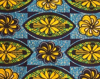 African fabric by the yard, Ankara Print, Teal and Yellow Ankara Fabric, African wax Print, Floral fabric, 1 Yard, tissu africain, Nichem