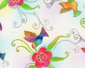 Laurel Burch Fabric Humming Birds White Metallic Flying Colors II 1 Yard