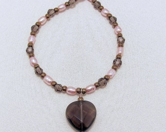Beaded Necklace Smoky Quartz and Pearl Necklace