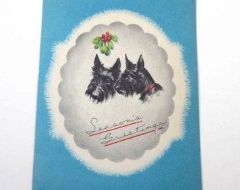 Vintage Christmas Greeting Card with Scottie or Scotty Dogs