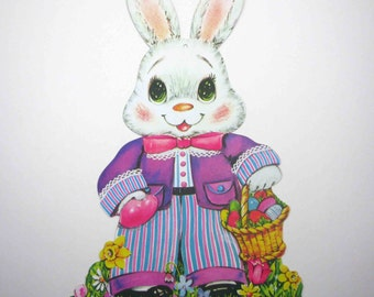 Vintage Die Cut Cardboard Easter Decoration with Rabbit and Basket of Easter Eggs