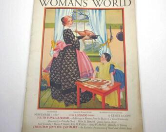 Vintage 1920s Woman's World Magazine for November 1927 Cover Design Miriam Story Hurford