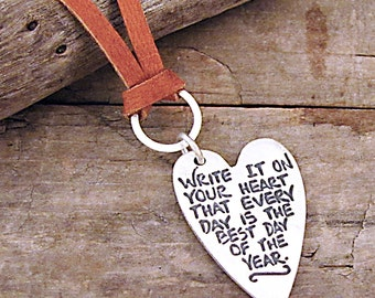Inspirational Jewelry - Emerson Quote Heart Necklace - Word Jewelry