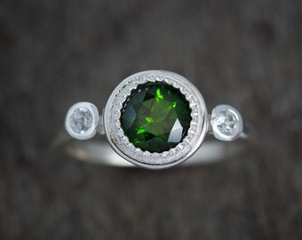 Multistone May Birthstone Ring, Gemstone Halo Ring, White Sapphire Ring, Emerald Green Ring, Eco Silver Milgrain Ring, Chrome Diopside Ring