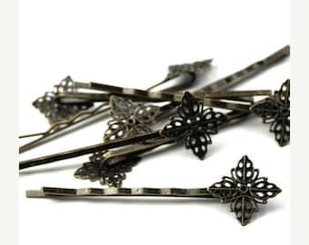 50% OFF SALE Filigree Bobby Pins 17mm Diamond Pad Antiqued Brass (8) FI552