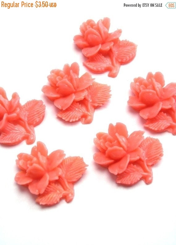 50% OFF SALE 6 Vintage Japanese Coral Plastic Rose with Stem Cabochons - 14x13mm VPC049