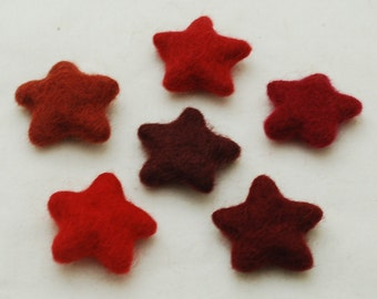 100% Wool Felt Star - 6 Count - Red Colour Shades