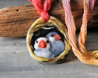 Cute couple bird in the nest necklace  - fused glass pendant -java bird