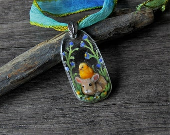 Cute Baby chick and bunny- Fused glass pendant