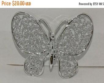 HUGE SALE Vintage Butterfly Brooch, Silver Metal Butterfly Pin, Pendant