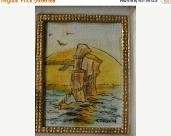 Valentines Day Sale Artwork Seascape 1970's Vintage Beach Sunset Miniature Framed Painting, Nautical, Ocean, Sun Set, Beach Life retro 70's