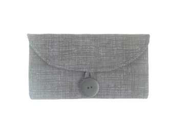 grey cash envelope wallet checkbook cover. charcoal black dark grey fabric womens coupon holder case. cute gift idea