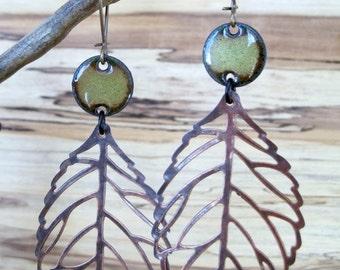 SALE Olive Green Copper Leaf Dangle Earrings, Enamel Earrings, Green Chandelier Earrings, Drop Earrings