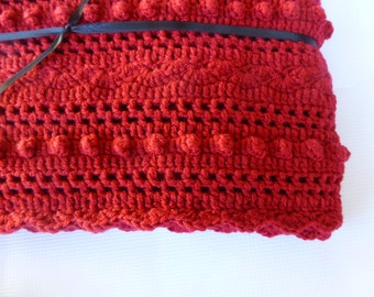 Lacy Red Baby Blanket -  Hand Crocheted  Baby Blanket