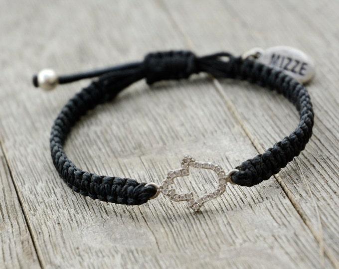 Sterling Silver CZ Hamsa Hand on Hand Knitted Bracelet