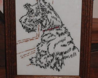 Framed Hand Embroidered Scottie Dog Picture- Vintage Image