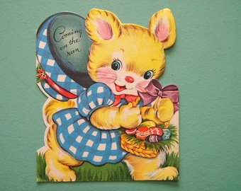 Vintage Easter Card Anthropomorphic Bunny Rabbit with Easter Basket