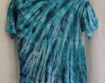 Tie Dye Shirt -Youth Large- Short Sleeve - Dark Blue, Turquiose and Green - 100% Cotton