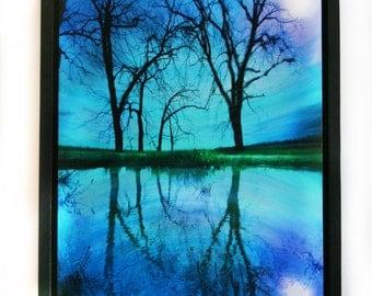 Night sky, 18x22 inches, Framed art, full moon reflection, #Lake house decor #blue decor #Fine art photography #full moon #Natureart
