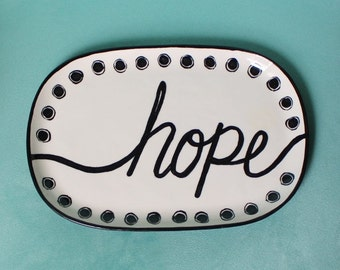polka dotted rectangle plate,hand painted pottery, black and white, love, hope, dream, inspirational quote, home decor