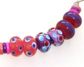 Handmade Lampwork Beads - Dreamboat! 3 pairs. Dots, floating dots & lines. Raspberry opal, encased purple rose, purple, turquoise, red.