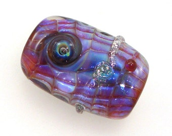 Handmade Lampwork Glass Focal Bead. Encased silver glass. Blue violet purple luster, bubble dots, sparkly dichro, twists, jewelry component.