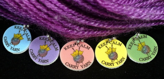 STITCHMARKERS for KNITTERS, Keep Calm and Carry Yarn