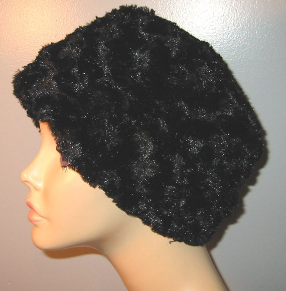Black Furry Pillbox  Anti Pill Fleece Hat, Winter Hat, Cancer, Chemo Hat, Warm Hat- 3 Color Choices