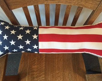 "Americana 4th of July Stars and Stripes long pieced pillow 8"" X 24"" red white and blue patriotic"