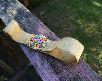 Gold Lame' Elastic Belt With Bejeweled Buckle