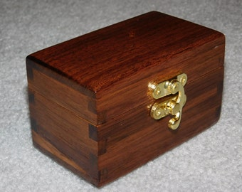 Small Wood Box for Business Cards -  Walnut Business Card Holder/Display