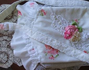 Handbag~Purse~ Cottage Chic~Rose Cotton~Cross Body~Handmade~Lace~Ruffles~ Shabby Rose~Girls Purse~Flower Girl~Shabby Cottage~Ribbon Roses