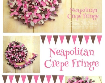 Neapolitan Handmade Crepe Paper Fringe, Festooning, Trim, Garland, Decoration, Party, Craft Supply, Streamer, DIY, Brown, Pink, Cream