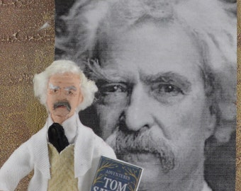 Mark Twain- Doll Miniature-  Art Collectible-Classic Literature