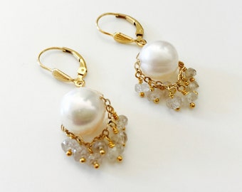 White Pearl Earrings with Natural Zircon Beaded Fringe